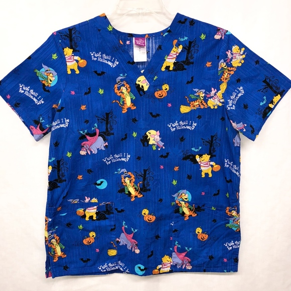 4f031bd87f5c Disney Medium Blue Halloween Winnie the Pooh Scrub.  M 5b7613bb03087c3e8509bed9